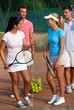 Tennis players prepared for mixed doubles