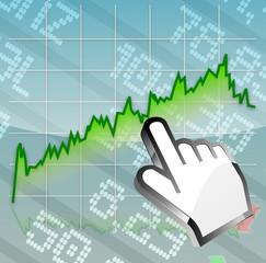 Börse Aktienchart positiv mit Cursor