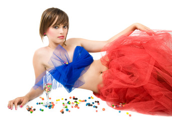 girl with candies
