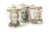 three portraits of U.S. presidents on dollar bills isolated on w