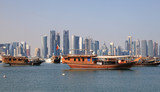 Skyline of the Doha downttown district. Qatar, Middle East poster