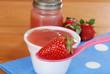 Organic strawberry baby food concept