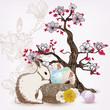 spring scene with rabbit and magnolia tree