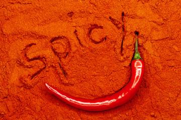 rote Chili Schote in Paprikapulver