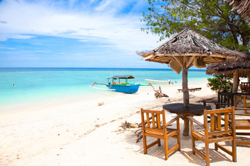 Beach rest pavillion in Gili islands