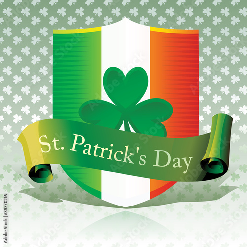 Saint Patrick's Day - Ireland Flag & Shamrock Shield