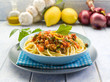 spaghetti with swordfish ragout