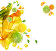 Orange and lime juice colorful splash with abstract wave