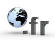 3D Domain fr mit Weltkugel