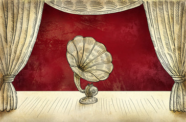 Retro gramophone illustration
