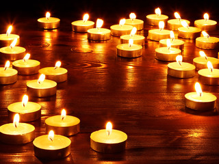 Group of burning candles.