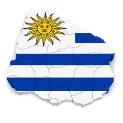 3D Map of Uruguay