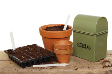 Seed tin tray and pots