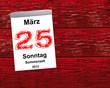 Kalender Holz - 25.03.2012 - Sommerzeit