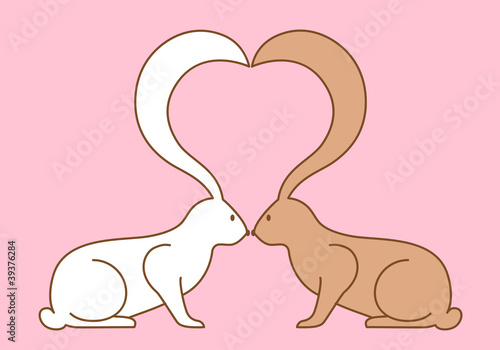 easter bunnies kissing, vector background