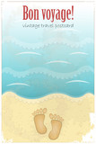 Vintage Travel Postcard - footprints in sand at the beach poster