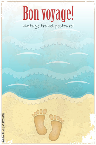 Vintage Travel Postcard - footprints in sand at the beach