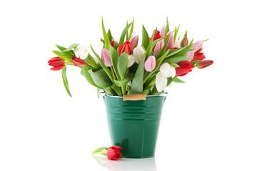 Green vase tulips