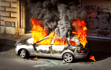 Riot - Burnt out Car