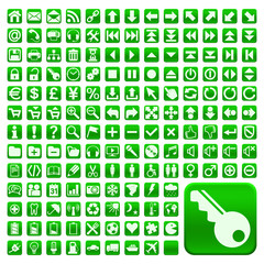 152 Buttons, grün, flach, grosse Symbole