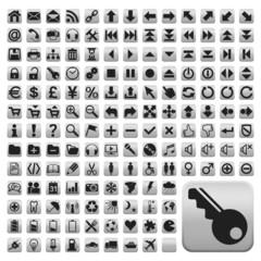 152 Buttons, weiss, flach, grosse Symbole