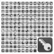 152 Buttons, grau, flach, grosse Symbole