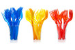 Disposable tableware. Set of colored plastic forks