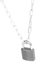 Modern padlock on chain isolated on white