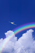 Aeroplane Clouds And Rainbow