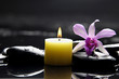 burning candle and pink orchid on pebbles