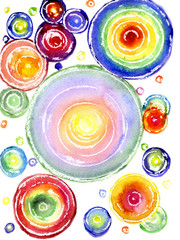 Watercolor a rainbow circles