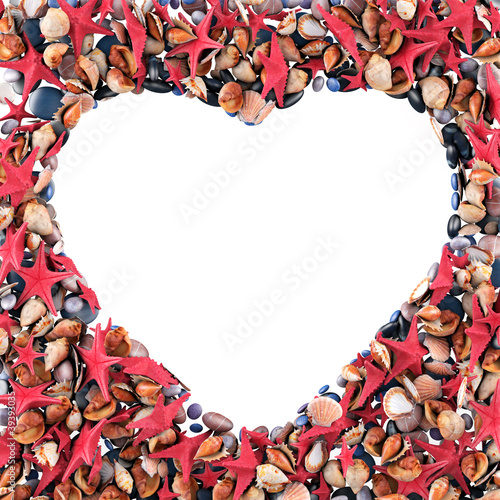 Heart made of sea shells. Isolated on white. 3d render