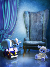 Niebieski pokój z fotelem i zabawkami