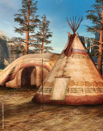 In de dag Indiërs Obóz indiański w lesie