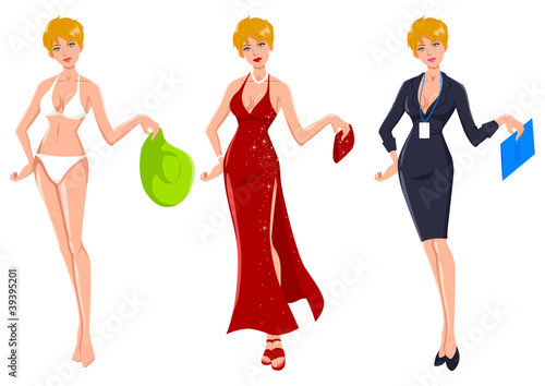 Attractive blond woman dress up for three different occasions