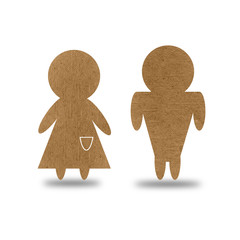 Male and Female sign from recycled paper