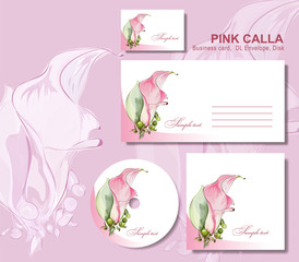 Business set with pink calla.