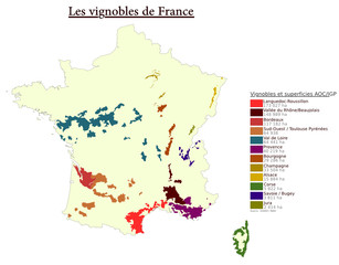 Carte des vignobles de France