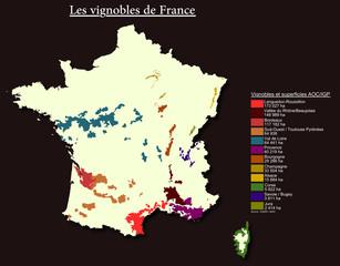 Les vignobles de France et leurs superficie