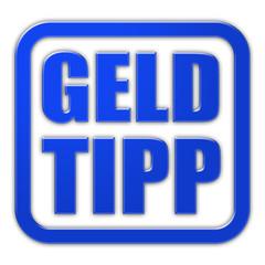 Stempel blau glas GELD TIPP