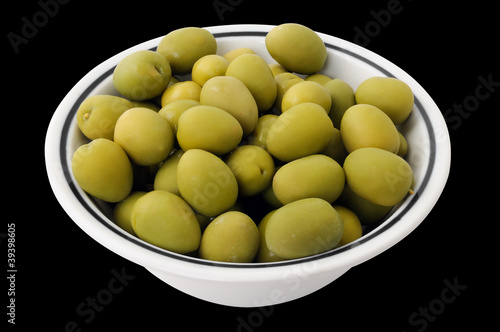olives in a bowl with clipping path