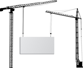two cranes with billboard on white