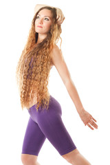 sport woman in  with long hair on yoga pose