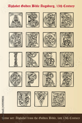 vector set: alphabet golden bible - augsburg