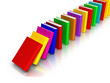 Row of Colourful Books falling like domino