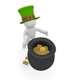 3d man with a bowl filled with golden coins