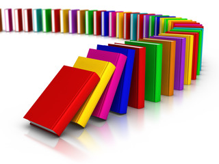 Row of Colourful Books Domino Effect