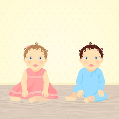 Brother and Sister. Vector illustration of babies (twins)