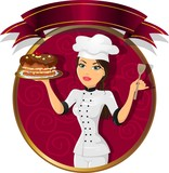 Fototapety Brunette woman pastry chef