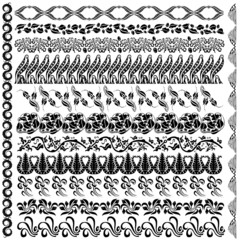 art nouveau silhouette pattern edge element